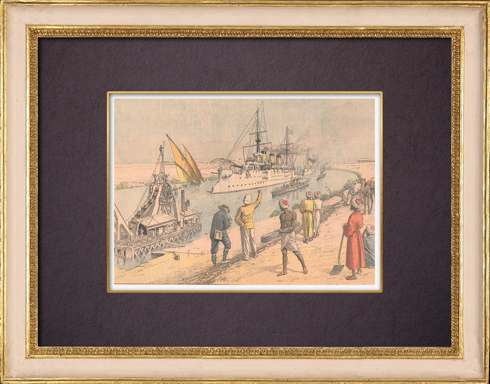 Antique Prints & Drawings | Warships in the Suez Canal - Egypt - 1904 | Wood engraving | 1904