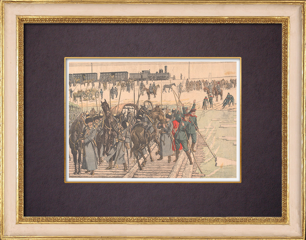 Antique Prints & Drawings | Russian cavalry going to Manchuria - Asia - 1904 | Wood engraving | 1904