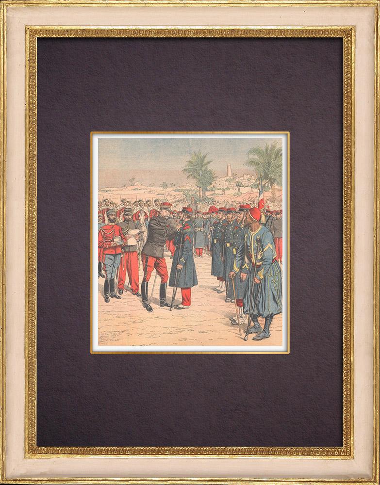 Gravures Anciennes & Dessins | Remise de la Médaille Militaire aux Héros de Taghit et d'El Moungar - Paris - 1904 | Gravure sur bois | 1904