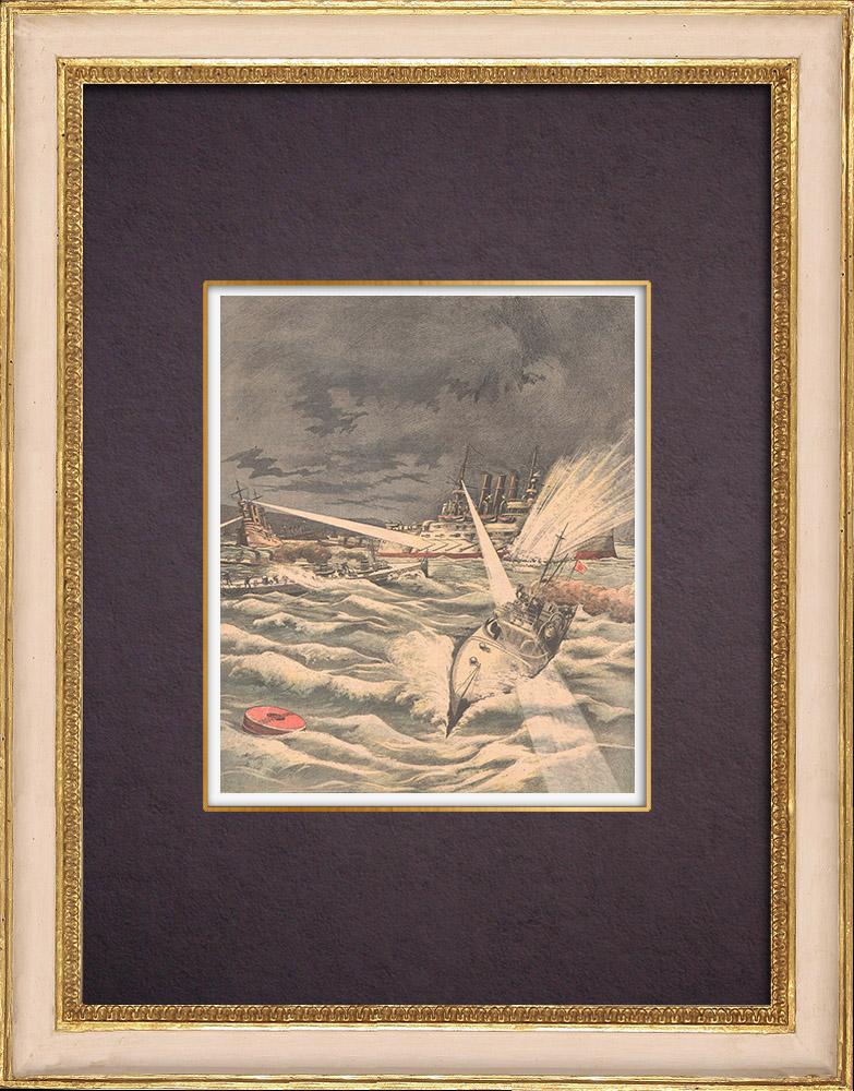 Gravures Anciennes & Dessins   Guerre russo-japonaise - Torpilleurs japonais contre flotte russe à Port-Arthur - Chine - 1904   Gravure sur bois   1904