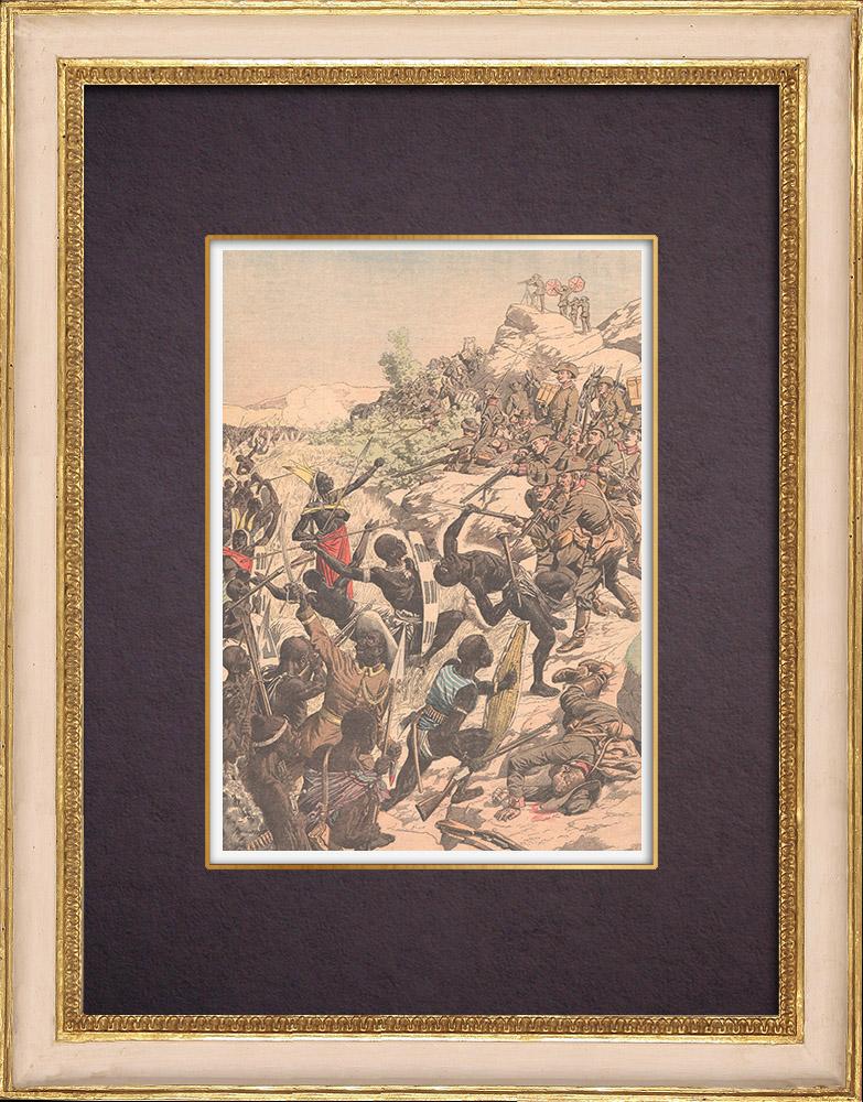 Gravures Anciennes & Dessins | Siège de la garnison allemande de Windhoek par les Héréros - Afrique australe - 1904 | Gravure sur bois | 1904