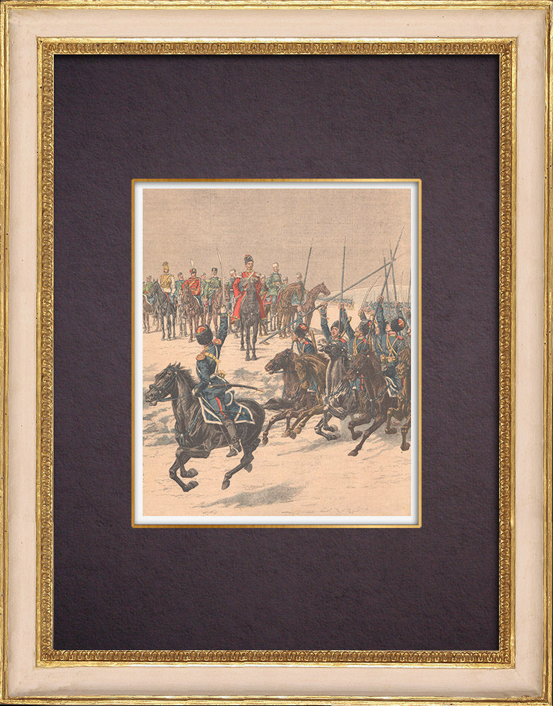 Antique Prints & Drawings   Nicolas II acclaimed by the Cossacks before their departure in the Far East - 1904   Wood engraving   1904
