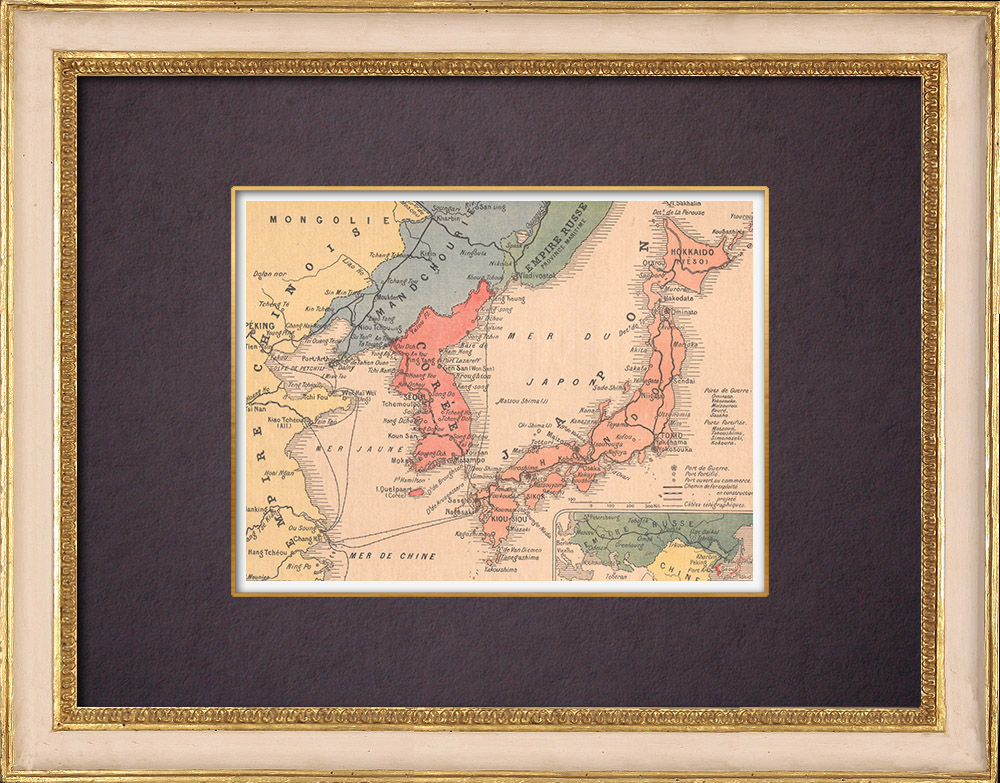 Antique Prints & Drawings | Map - Russo-Japanese War - 1904 | Wood engraving | 1904
