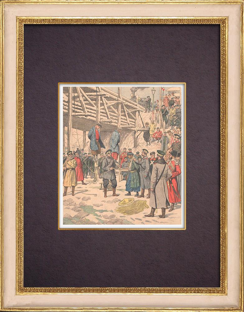 Gravures Anciennes & Dessins   Exécution d'espions Japonais par les soldats Russes - Port-Arthur - Chine - 1904    Gravure sur bois   1904