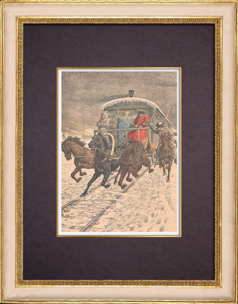 Antique Prints & Drawings | Passage of military wagons on Lake Baikal - Russia - 1904 | Wood engraving | 1904