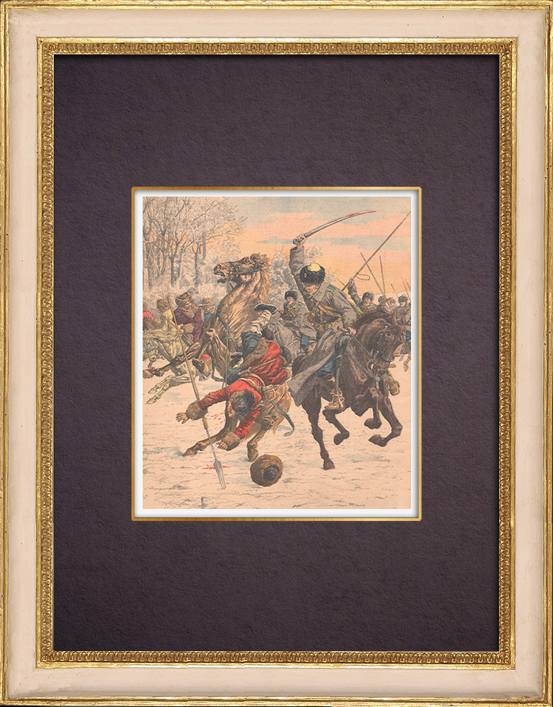 Antique Prints & Drawings | Cossacks against Koungouses in Manchuria - China - 1904 | Wood engraving | 1904
