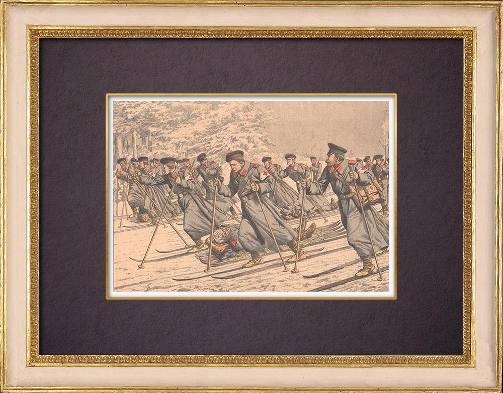 Gravures Anciennes & Dessins | Transport des blessés Russes sur des skis - Chine - 1904 | Gravure sur bois | 1904