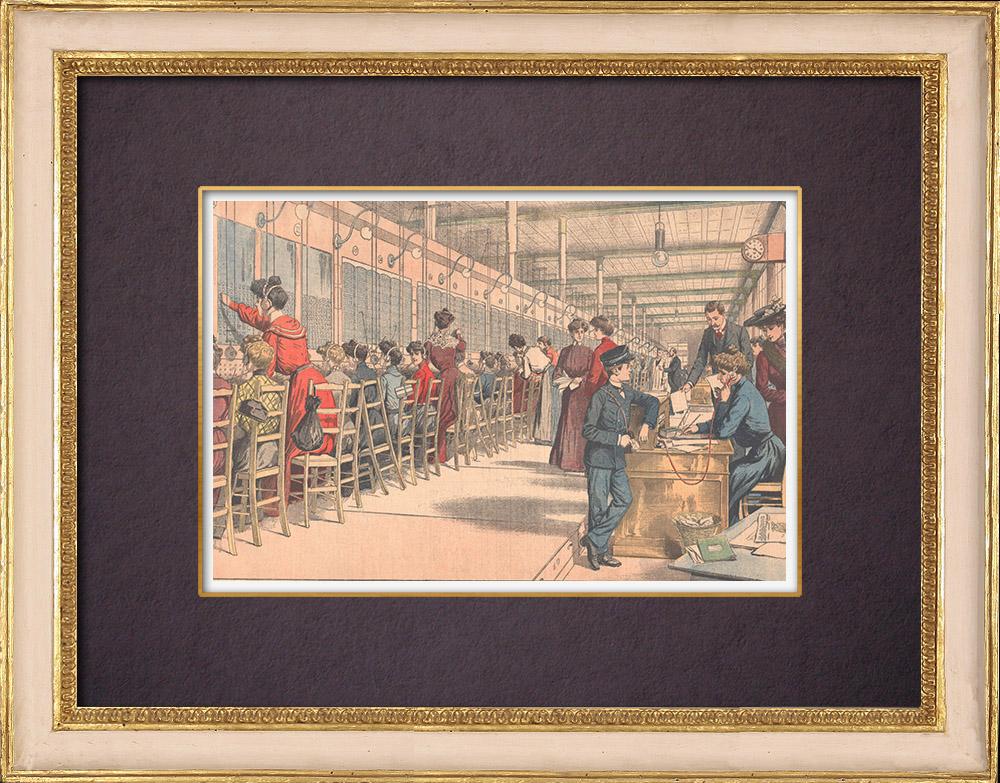 Gravures Anciennes & Dessins | Demoiselles du téléphone - Un bureau téléphonique à Paris - 1904 | Gravure sur bois | 1904