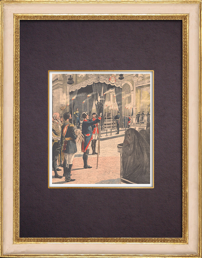 Antique Prints & Drawings   Funeral of Isabel II in the presence of Alfonso XIII his grandson - Spain - 1904   Wood engraving   1904