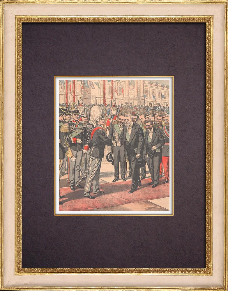 Gravures Anciennes & Dessins | Visite du Président de la République française à Rome - 1904 | Gravure sur bois | 1904