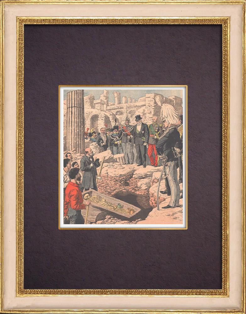 Gravures Anciennes & Dessins   Visite du Président de la République française - Fouilles dans le Forum Romain - 1904   Gravure sur bois   1904