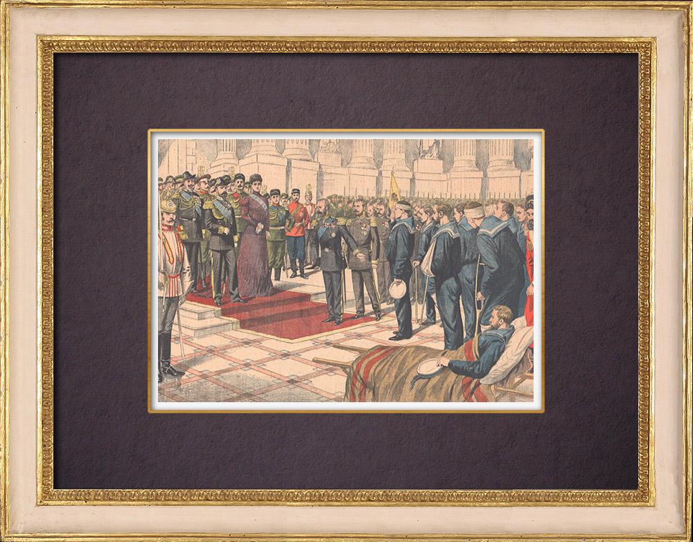Antique Prints & Drawings | Emperor Nicholas II receives Varyag's heroic sailors - Saint Petersburg - 1904 | Wood engraving | 1904