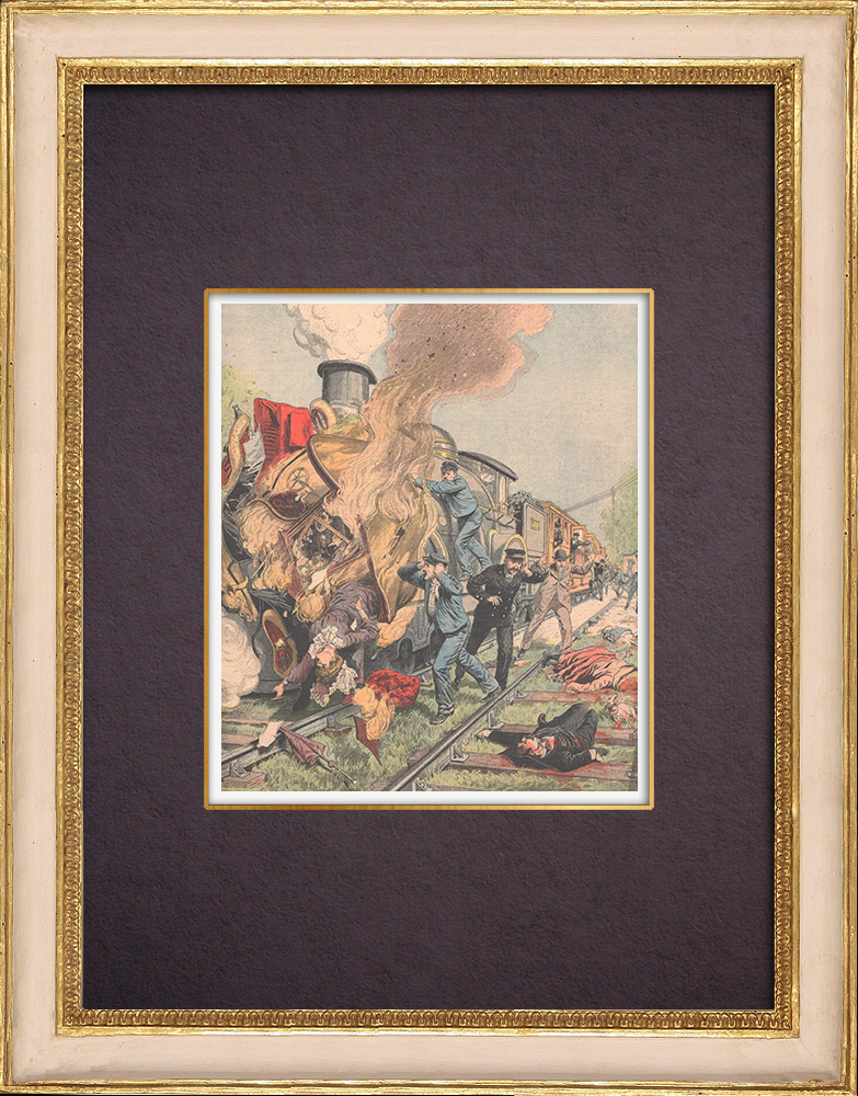 Antique Prints & Drawings | Railway accident in Roissy-en-Brie - Level crossing - Île-de-France - 1904 | Wood engraving | 1904