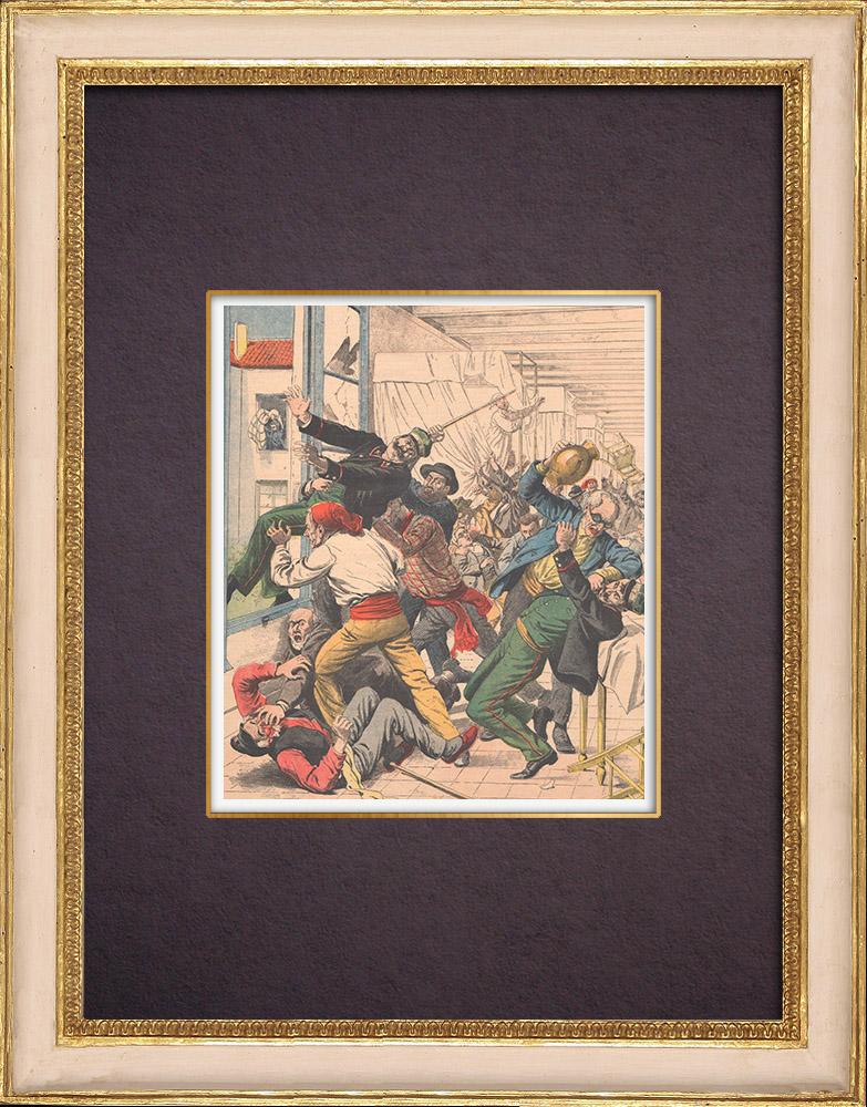 Gravures Anciennes & Dessins | Révolte d'aveugles dans un hospice de Naples - Italie - 1904 | Gravure sur bois | 1904