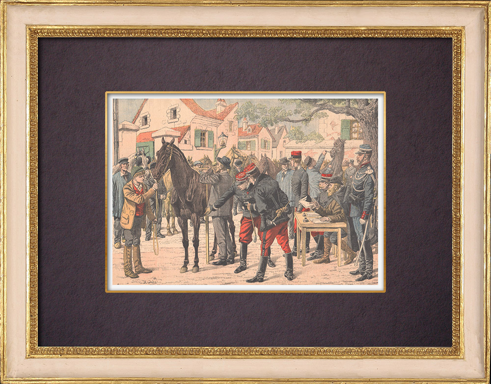 Antique Prints & Drawings   The requisition of horses at the beginning of a war - 1904   Wood engraving   1904