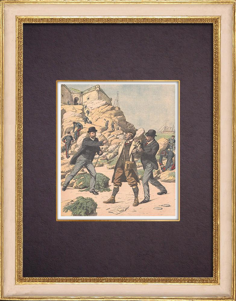 Antique Prints & Drawings | Arrest of an English spy in Belle-Île - Morbihan - France - 1904 | Wood engraving | 1904