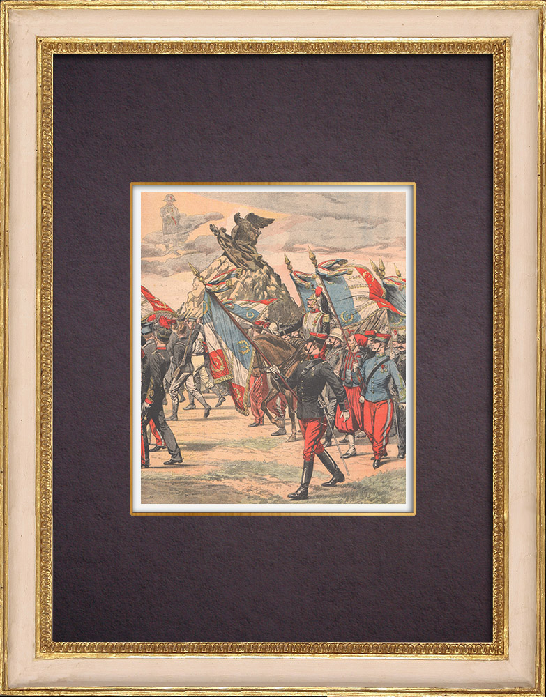Antique Prints & Drawings | L'Aigle blessé - Monument to French soldiers dead for the Homeland - Waterloo - Belgium - 1904 | Wood engraving | 1904