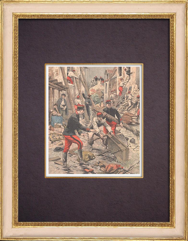 Gravures Anciennes & Dessins   Inondations de Mamers - Crue de la Dive - Sarthe - France - 1904   Gravure sur bois   1904