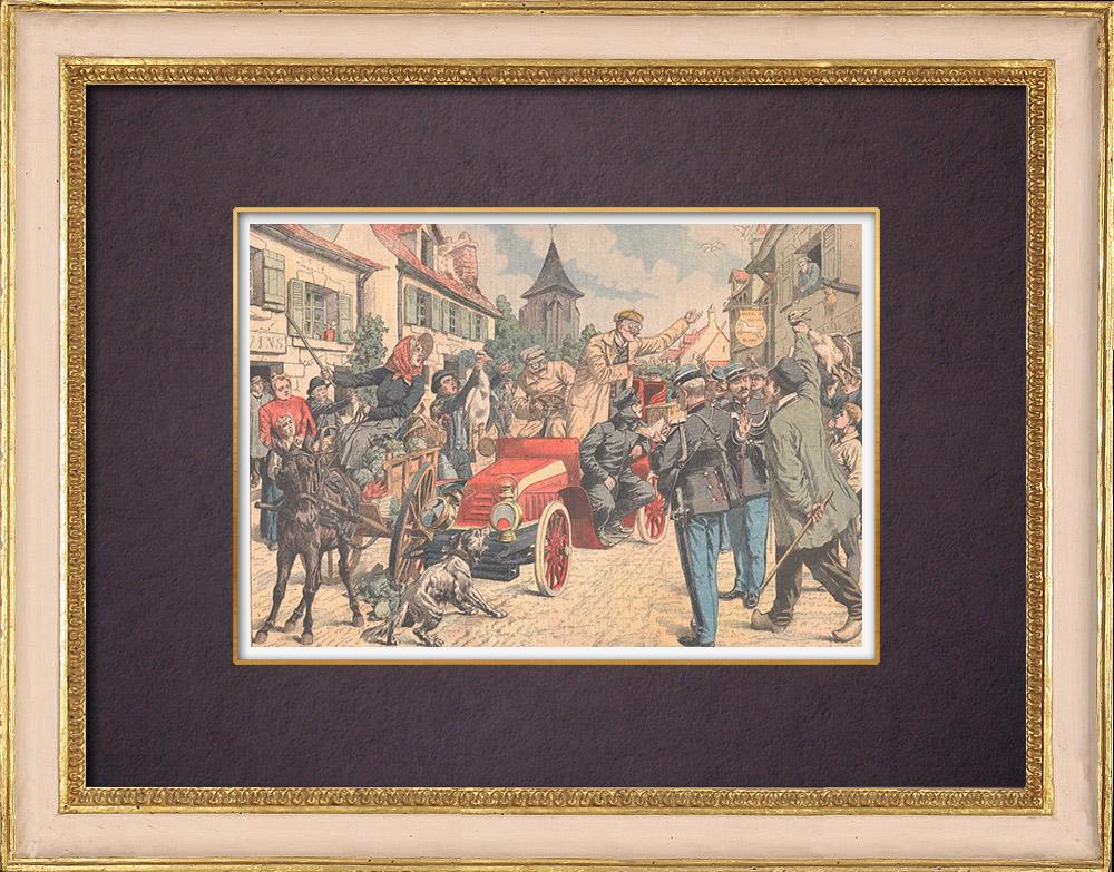 Gravures Anciennes & Dessins | Excès de vitesse dans un village - France | Gravure sur bois | 1904