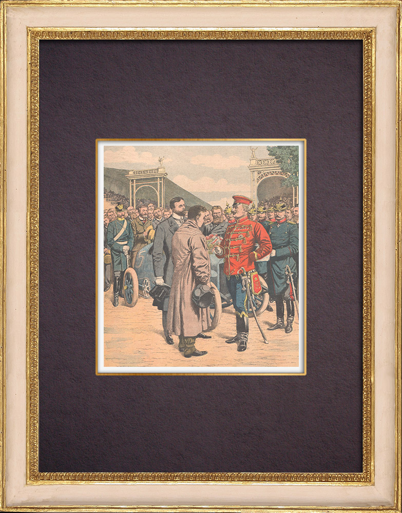 Antique Prints & Drawings | Wilhelm II congratulates the french Gordon Bennett Cup's winner - Germany - 1904 | Wood engraving | 1904