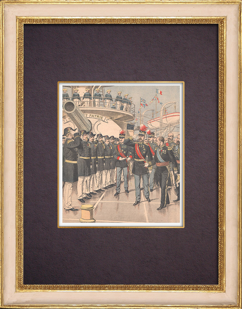 Antique Prints & Drawings | Reception of King George of Greece aboard the Suffren - Athens - 1904 | Wood engraving | 1904