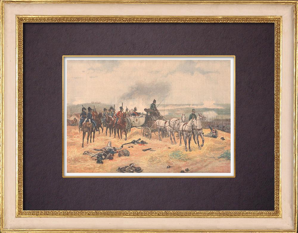 Gravures Anciennes & Dessins | Masséna blessé donnant ses ordres depuis une calèche lors de la bataille de Wagram - Autriche - 1809 | Gravure sur bois | 1904