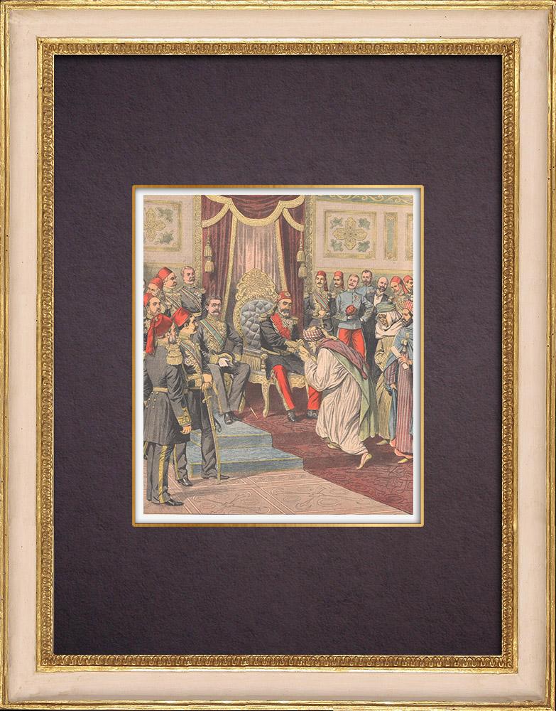 Antique Prints & Drawings | Visit of Muhammad VI al-Habib, Bey of Tunis, in Paris - 1904 | Wood engraving | 1904