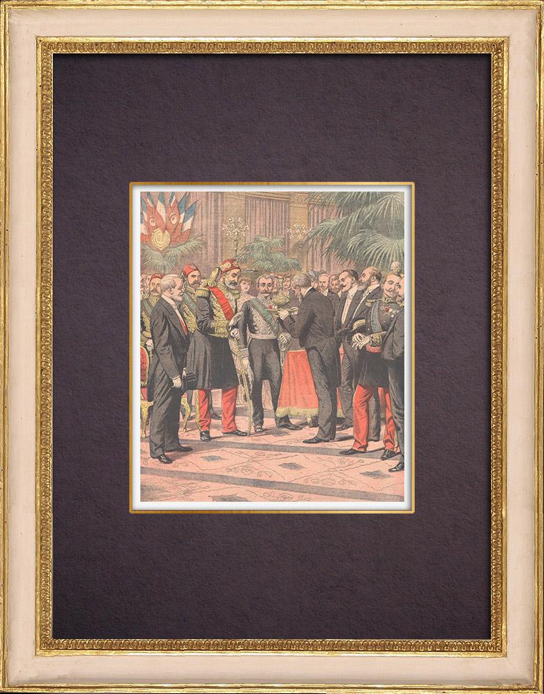 Gravures Anciennes & Dessins   Réception de Mohamed el-Habib, Bey de Tunis, à l'Hôtel de Ville de Paris - 1904   Gravure sur bois   1904
