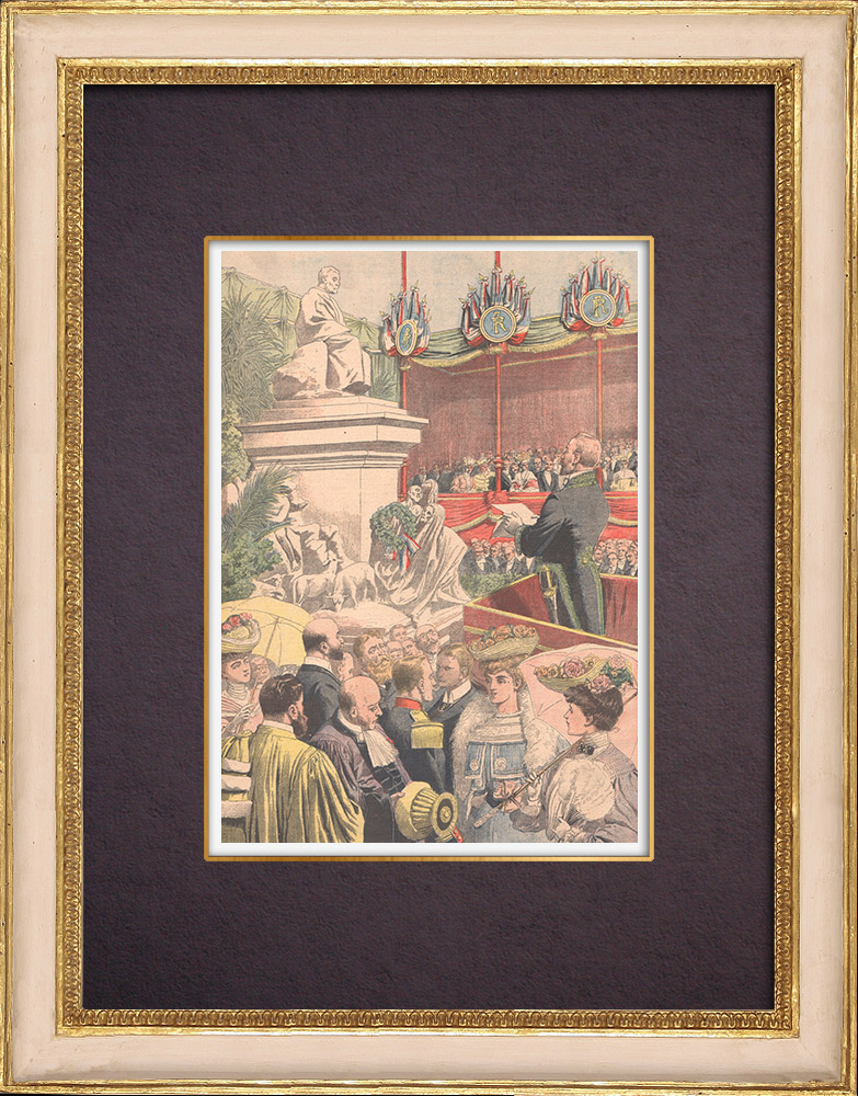 Antique Prints & Drawings | Inauguration of the statue of Pasteur in Paris - 1904 | Wood engraving | 1904