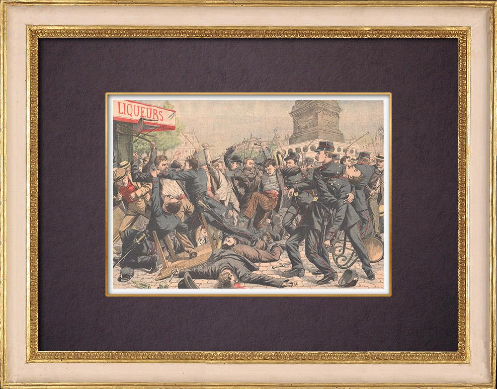 Gravures Anciennes & Dessins   Voyous et agents de police sur la Place de la Bastille - Paris - 1904   Gravure sur bois   1904
