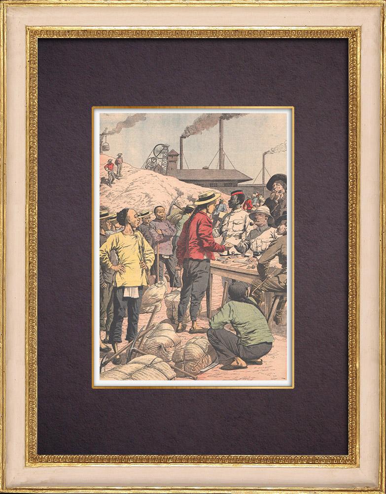 Gravures Anciennes & Dessins | Enrôlement des travailleurs chinois dans les mines d'or - Afrique  du Sud - 1904 | Gravure sur bois | 1904
