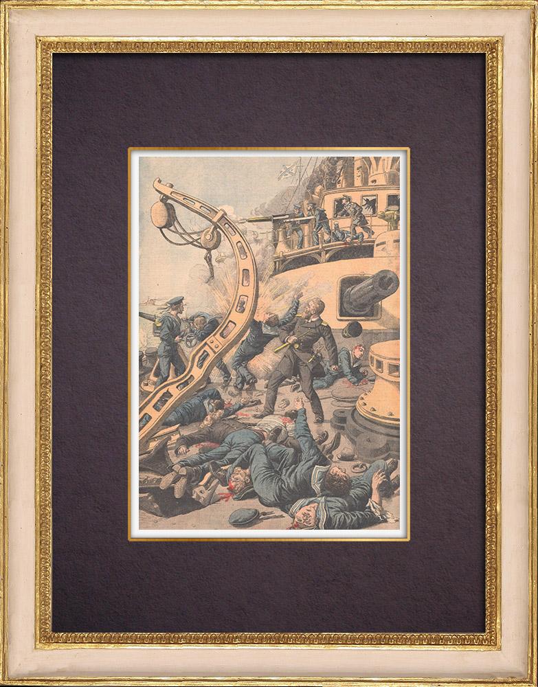 Gravures Anciennes & Dessins | Combat naval à bord du cuirassé Russe Tsarevitch - Port Arthur - Chine | Gravure sur bois | 1904