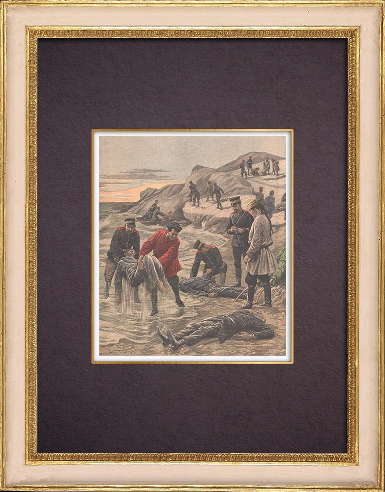 Gravures Anciennes & Dessins   Cadavres de marins russes rejetés sur la côte de Liao-Toung - Chine - 1904   Gravure sur bois   1904