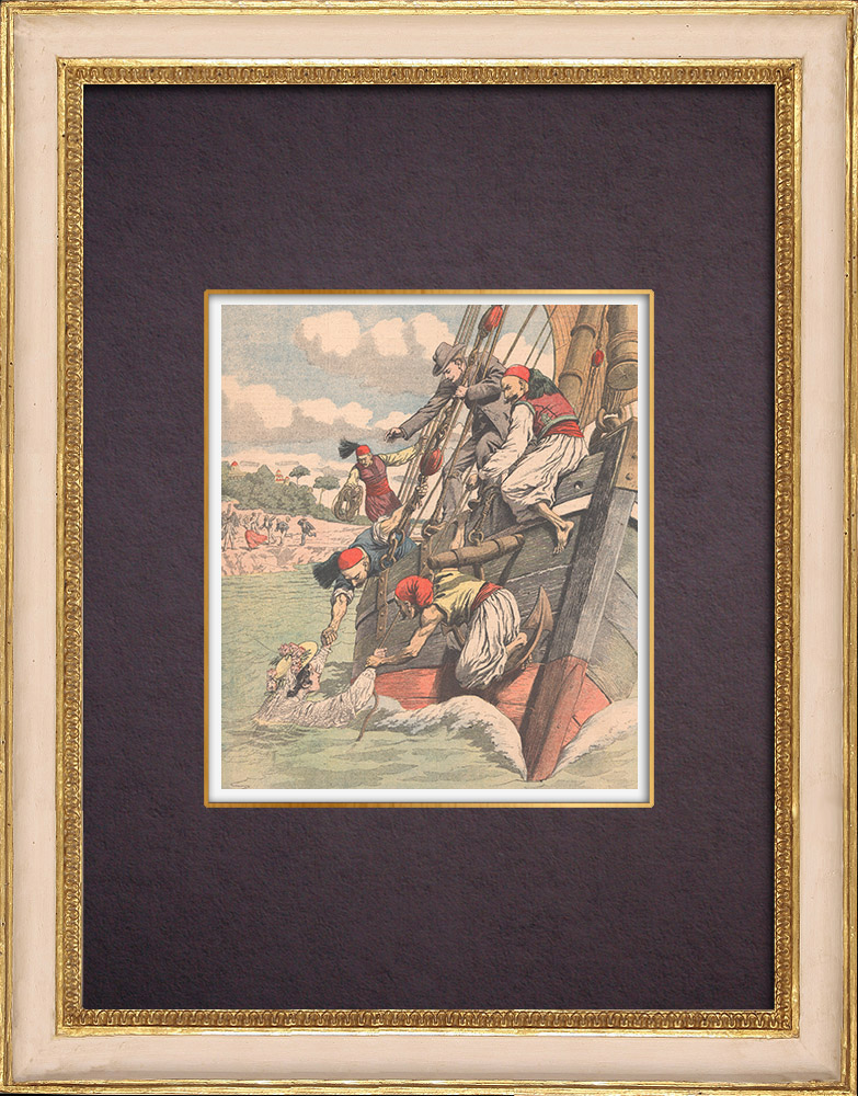 Antique Prints & Drawings   Abduction of a young girl in a boat in Greece - 1904   Wood engraving   1904
