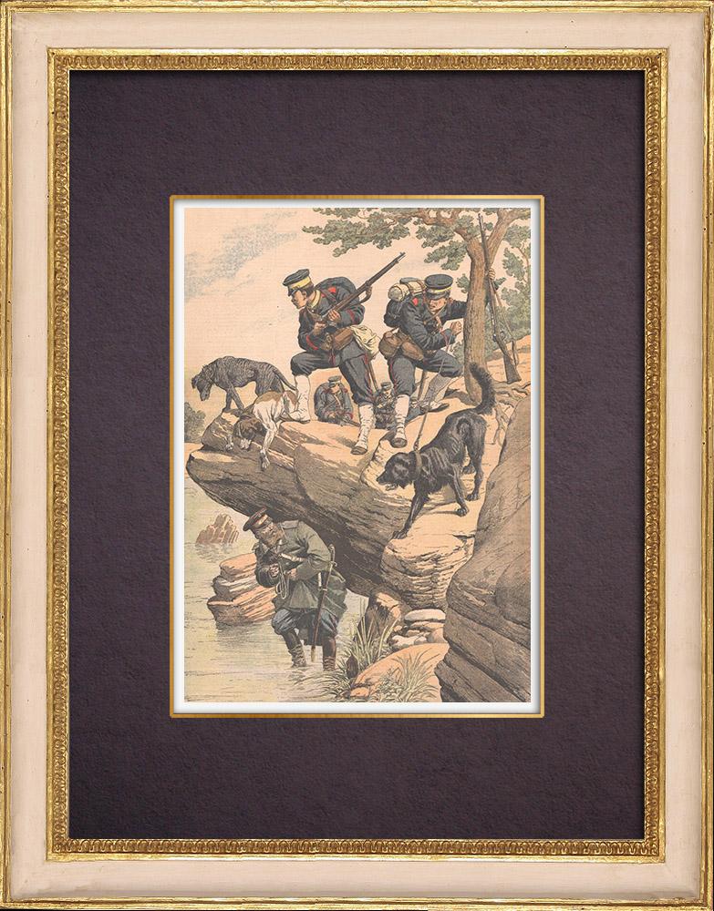 Gravures Anciennes & Dessins   Chiens de guerre japonais - Guerre russo-japonaise - 1904   Gravure sur bois   1904
