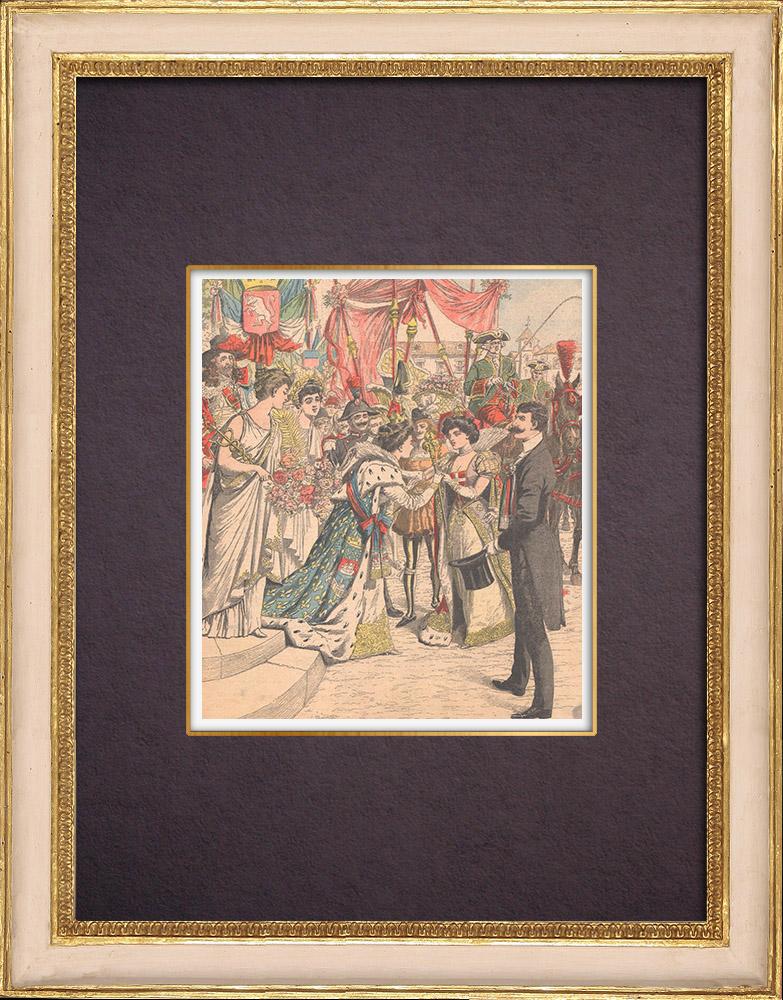 Gravures Anciennes & Dessins | La reine du marché de Turin et les reines de la Mi-Carême de Paris - Turin - 1904 | Gravure sur bois | 1904