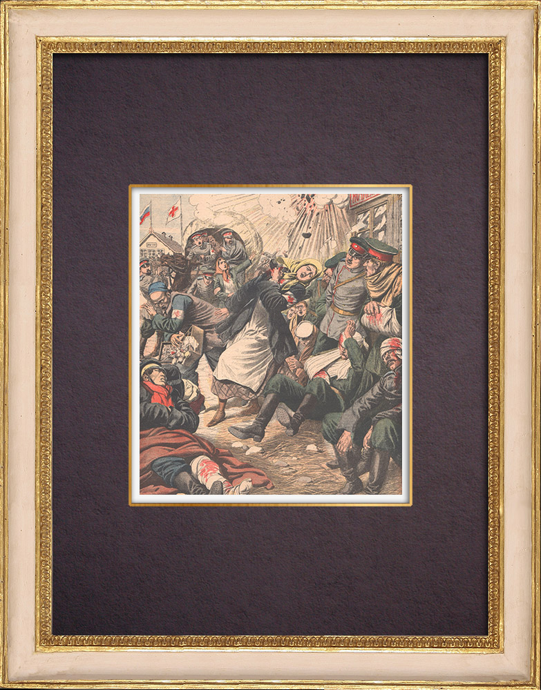 Antique Prints & Drawings   The wife of General Stoessel wounded - Siege of Port Arthur - China - 1904   Wood engraving   1904