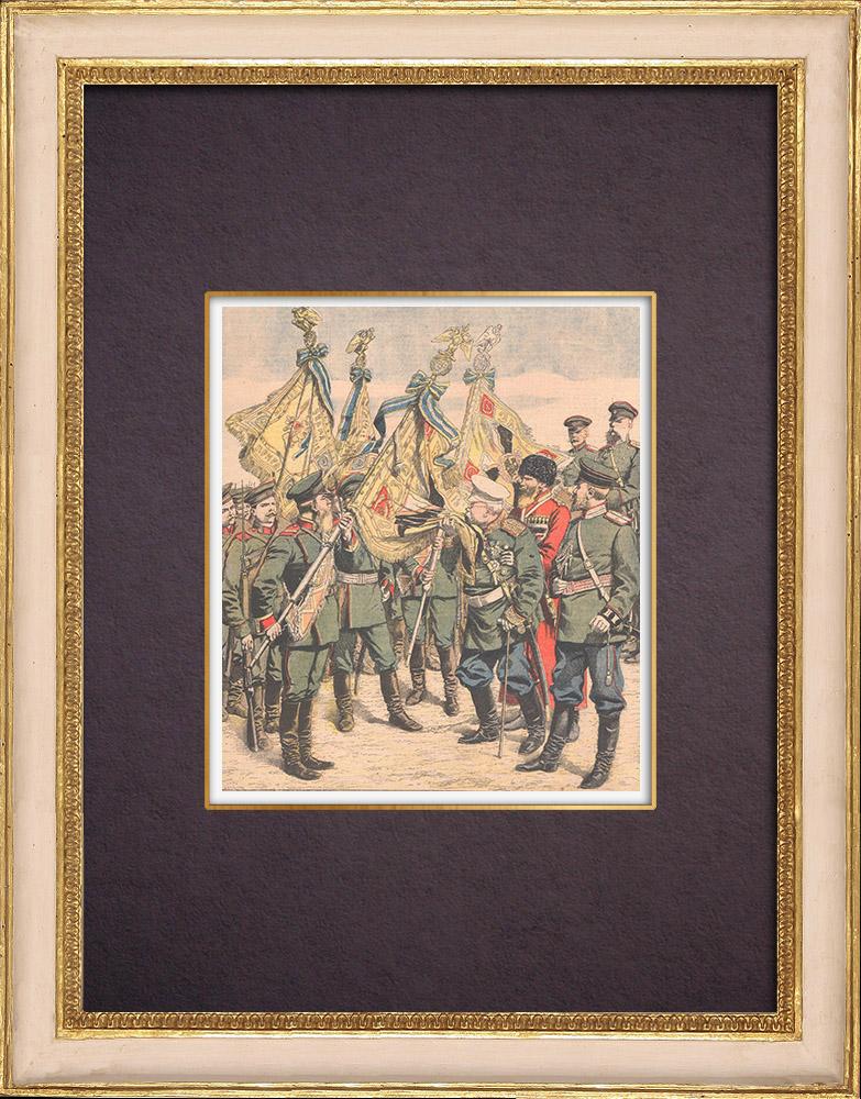 Gravures Anciennes & Dessins | Conseils du général Dragomirov à ses troupes partant à la guerre - Kharkov - Russie - 1904 | Gravure sur bois | 1904