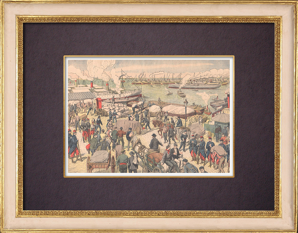 Antique Prints & Drawings | End of strikes in Marseille port - France - 1904 | Wood engraving | 1904