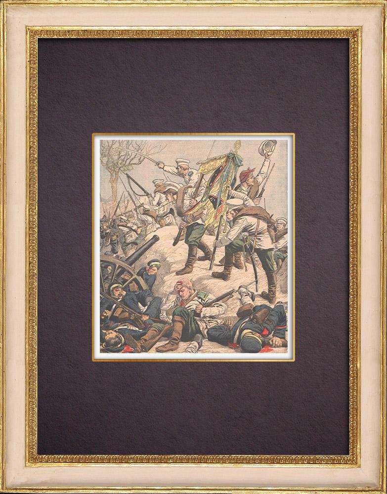 Gravures Anciennes & Dessins | Les Russes attaquent les Japonais à Namchinza - Mandchourie - Chine - 1904 | Gravure sur bois | 1904