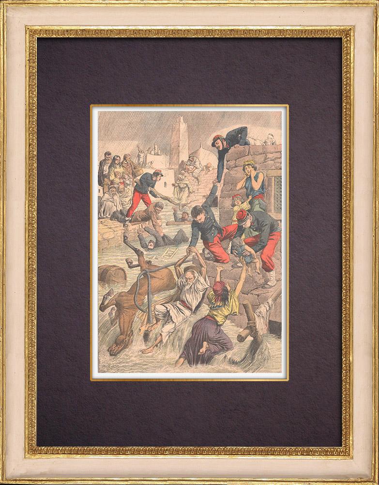 Gravures Anciennes & Dessins | Inondation à Aïn Sefra - Algérie  - 1904 | Gravure sur bois | 1904