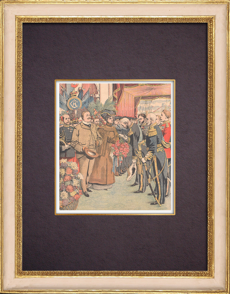Antique Prints & Drawings | Arrival of the Portuguese sovereigns to Cherbourg - France - 1904 | Wood engraving | 1904