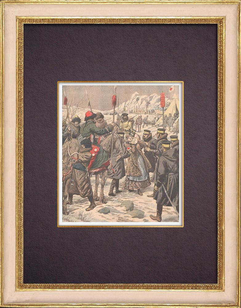 Gravures Anciennes & Dessins | Les Koungouses livrent une infirmière russe aux troupes japonaises - Chine - 1904 | Gravure sur bois | 1904
