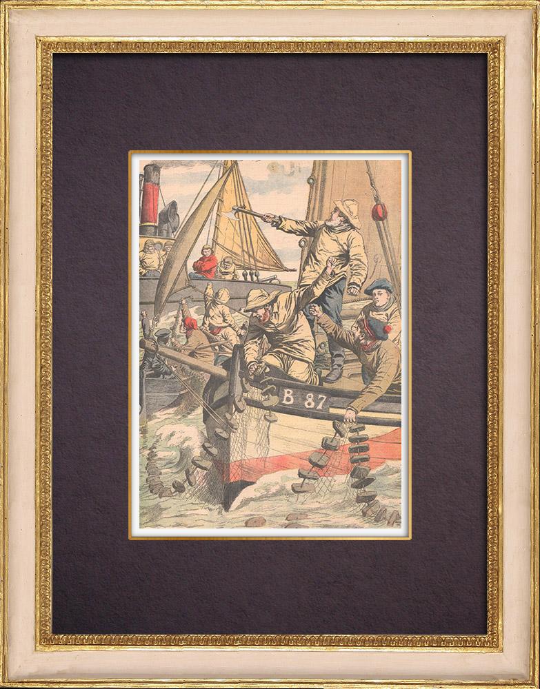 Gravures Anciennes & Dessins   Bagarre entre pêcheurs français et anglais - Manche - 1904   Gravure sur bois   1904