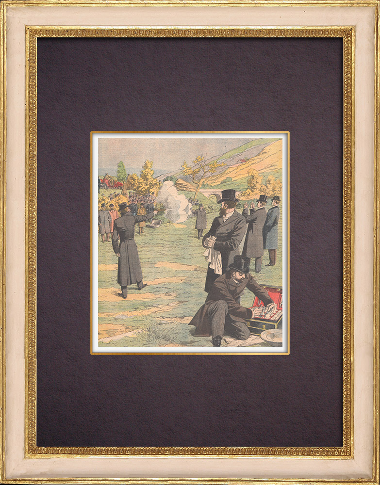 Antique Prints & Drawings | Duel between Déroulède and Jaures in Hendaye - France - 1904 | Wood engraving | 1904