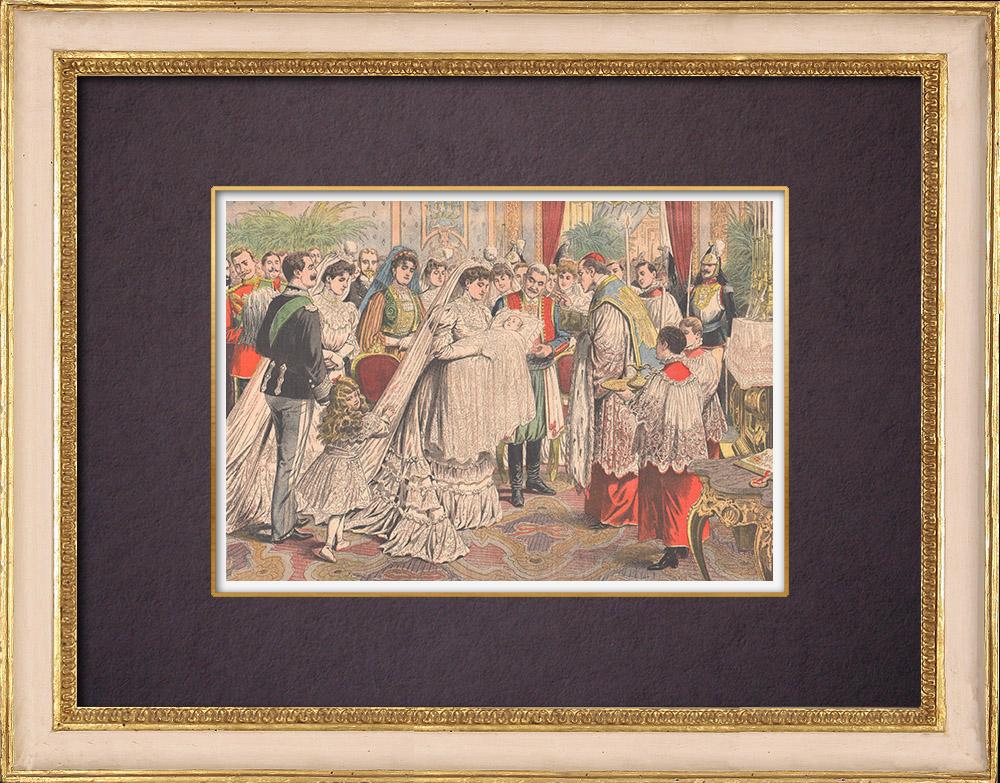 Gravures Anciennes & Dessins | Baptême du Prince de Piémont au Quirinal - Rome - Italie - 1904 | Gravure sur bois | 1904