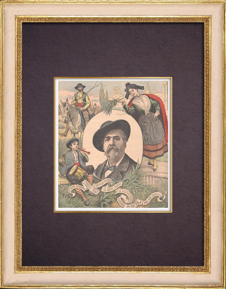 Antique Prints & Drawings   Portrait of Frédéric Mistral - Nobel Prize in Literature  1904    Wood engraving   1904