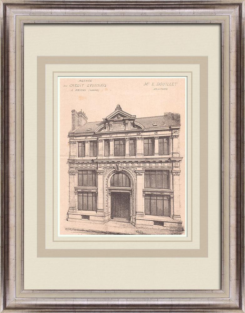 Gravures Anciennes & Dessins | Banque - Crédit Lyonnais - Amiens - Somme - France (E. Douillet architecte) | Impression | 1900