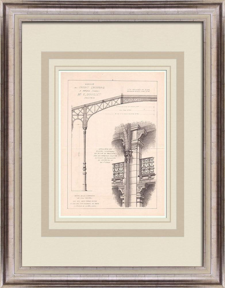 Antique Prints & Drawings   Bank - Crédit Lyonnais - Amiens - Somme - France (E. Douillet)   Print   1900