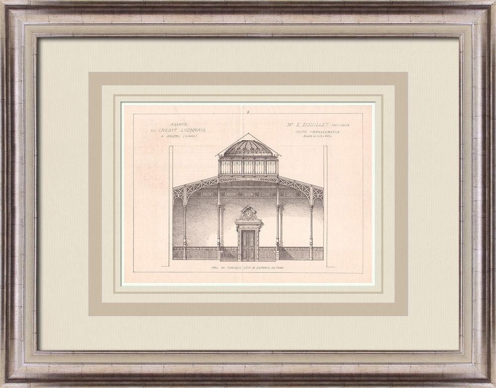 Gravures Anciennes & Dessins   Banque - Crédit Lyonnais - Amiens - Somme - France (E. Douillet architecte)   Impression   1900